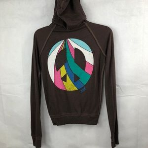 Victoria's Secret Pink Brown Peace Sign Hoodie XS